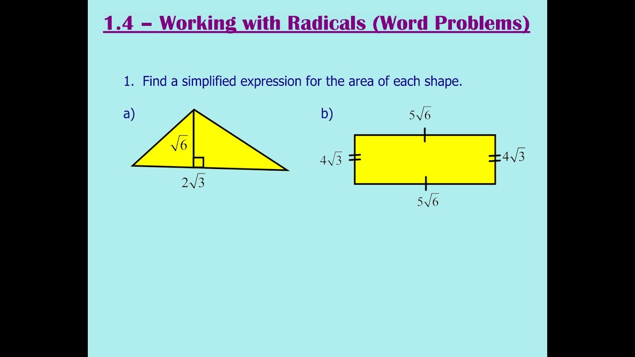 1.4 - Working with Radicals (Word Problems) - YouTube