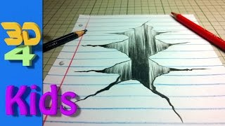 Wow! easy 3d drawing draw CRACK in paper step by step