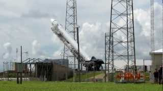 SpaceX Falcon rocket is erected vertical on the launch pad for Dragon CRS-1 mission to ISS