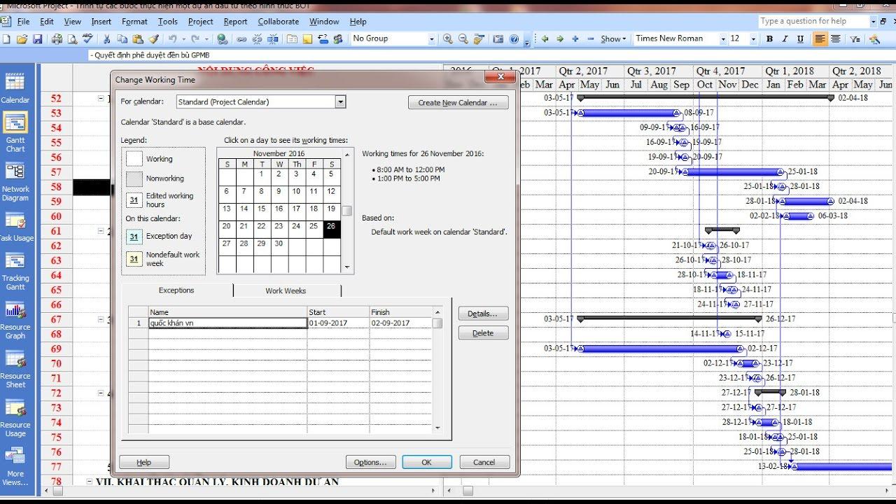 Cài đặt thời gian làm việc – chế độ làm việc – lịch làm việc trên phần mềm Project