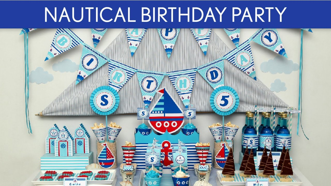 Nautical Themed Birthday Party Supplies Part - 38: Nautical Birthday Party Ideas // Nautical - B23 - YouTube