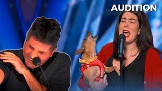 Pam & Casper THE SINGING DOG Has Simon Cowell Melting Away on America's Got Talent