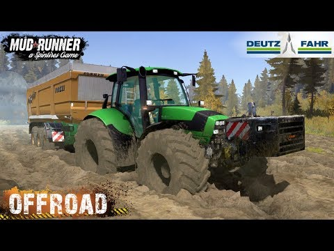 Spintires: MudRunner - DEUTZ-FAHR AGROTRON M 620 TRACTOR Rides On Mud And Off-road