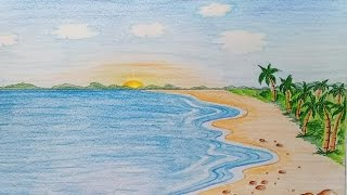 How to draw  Sea scenery step by step (very easy)