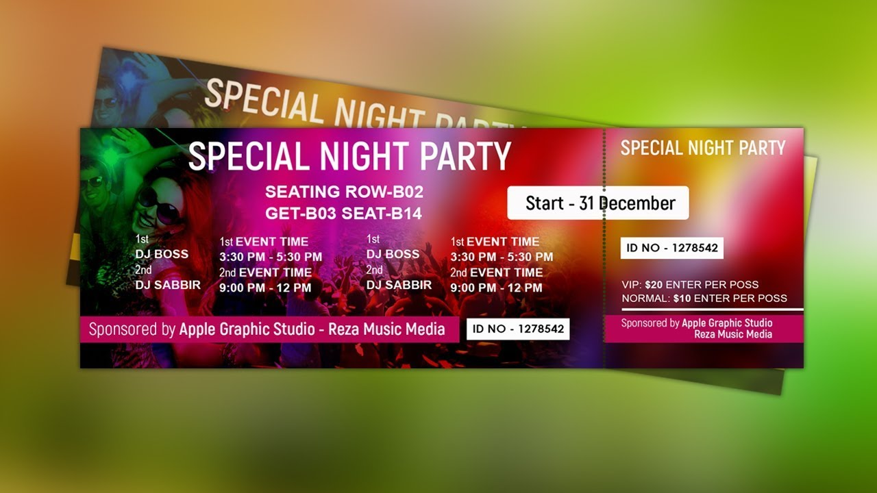 Delightful How To Design Event Ticket Template   Photoshop Tutorial Ideas Party Ticket Template