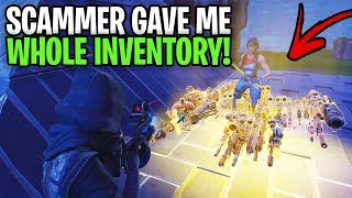 Rich Scammer Gave Me His Whole Inventory.. 😆 (Scammer Get Scammed) Fortnite Save The World