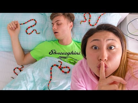 SNAKES IN HIS BED PRANK!! (HE CRIED)