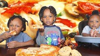 CHEESY PIZZA + BBQ WINGS w/ A.L.F. 3x | Kids Eating Show