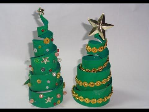 Como hacer Arbolitos de Navidad con conos de papel YouTube
