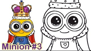 How to Draw Minion King Bob Cute Step by step
