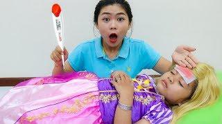 Suri Pretend Play with Rapunzel Costume Dress Up & Getting Sick