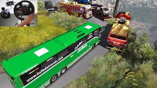Aggressive Volvo bus driver shows his power to crazy lady truck driver   Euro truck simulator 2 ETS2