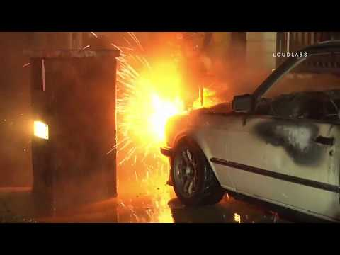 2 Attempt Arson Auto Fire / Sylmar   RAW FOOTAGE