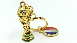 World Cup Russia 2018 Trophy Hercules Cup & France National Flag Keychain【4K】