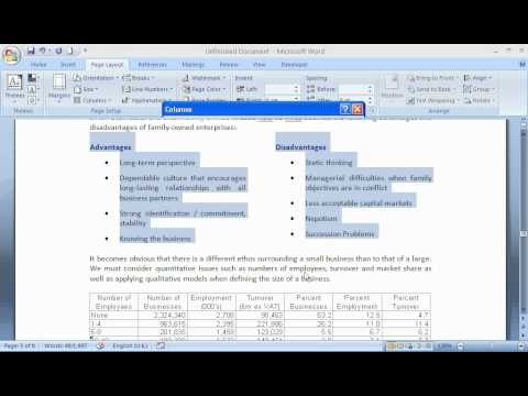 Format Columns in Microsoft Word - YouTube