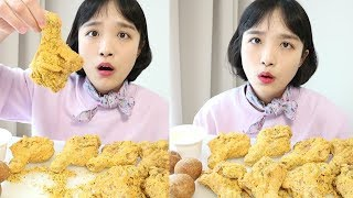 Prinkle chicken eating show _ Celebrate my birthday♥ chicken legs and cheese balls :D