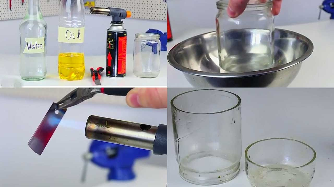 clever trick to cut through glass with water oil and