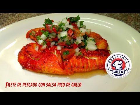 filete de pescado tilapia frito sin harinas y huevos (pico de gallo )
