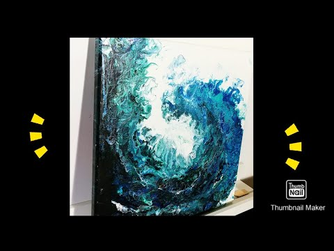 Acrylic pouring: BEST OCEAN WAVE EVER How- to do it easy with swipe and a straw, Fluid Art