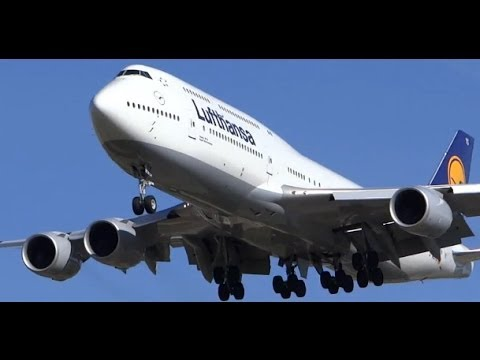 Inaugural Lufthansa Airlines Boeing 747-8 Landing & Takeoff - Chicago O'Hare - ORD Airport