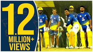 exclusive-dhoni-raina-batting-at-csk-nets-dhoni-s-massive-six-ipl-2019-chennai-super-kings