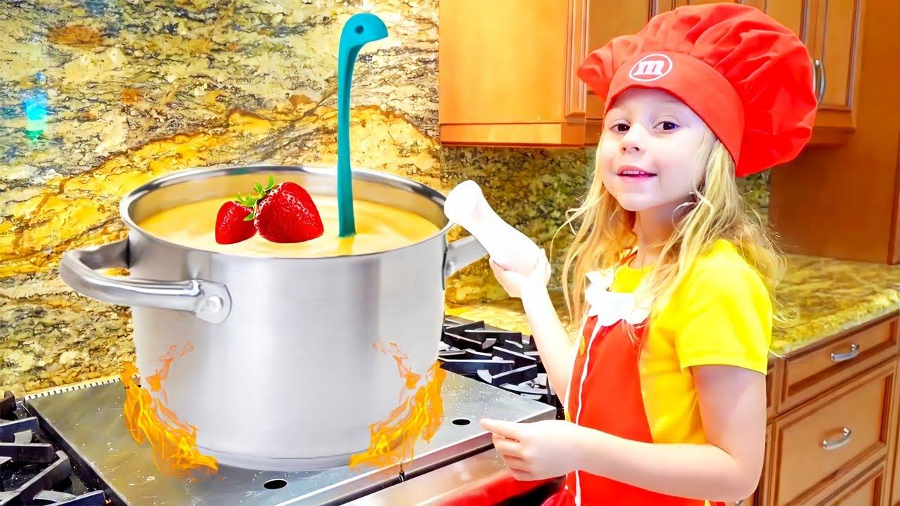 Nastya ve ayı yulaf lapası pişiriyor, çocuklar için komik videolar
