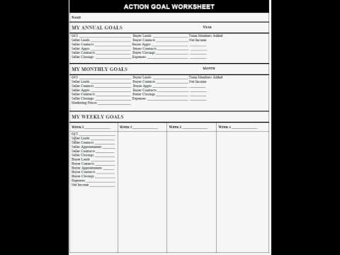 action goal worksheet for real estate agents youtube. Black Bedroom Furniture Sets. Home Design Ideas
