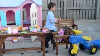 Play In Littletike Playhouse -kids Pretend Playing Video
