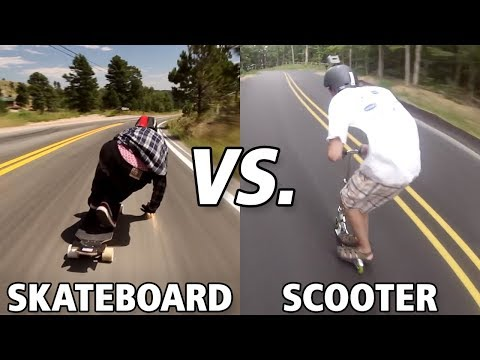 Skateboard Vs Scooter Extreme Downhill (Wins & Fails)