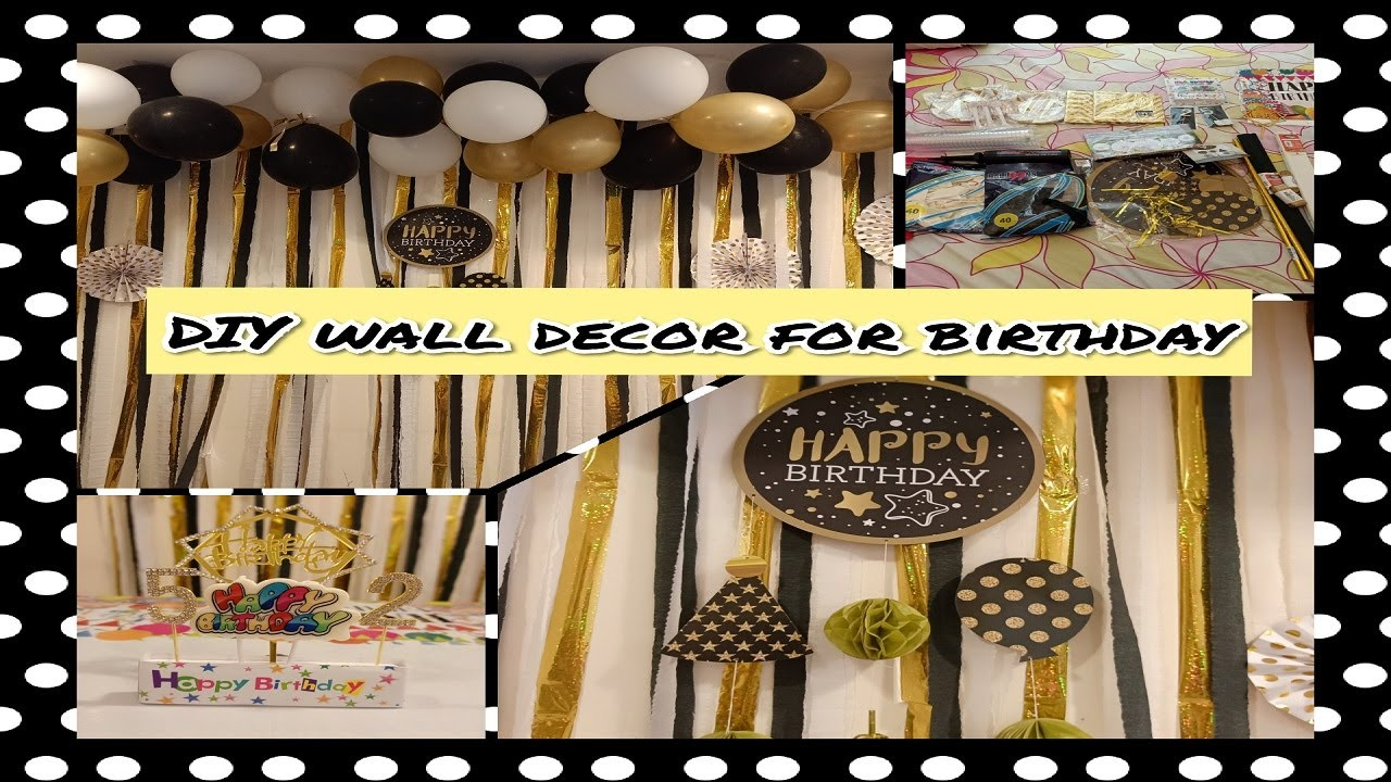 Download DIY wall decor for birthday // colour theam black, cream and gold