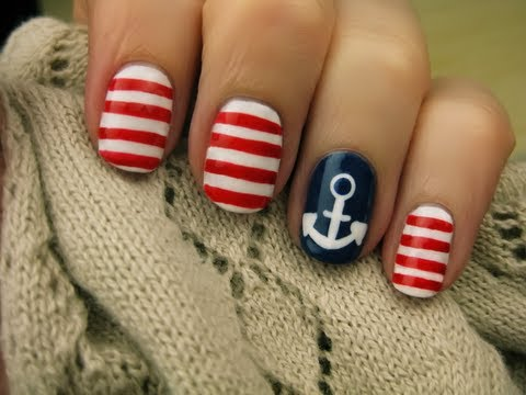 Nautical Nail Art - YouTube