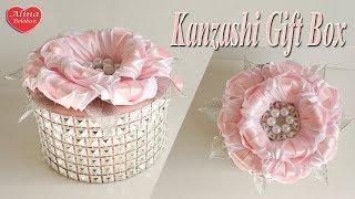 Шкатулка Канзаши со Стразами. МК / Kanzashi Gift Box with Rhinestones. DIY