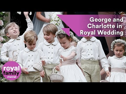 Prince George and Princess Charlotte in Princess Eugenie's bridal party