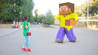 Real Life Minecraft vs Pacman