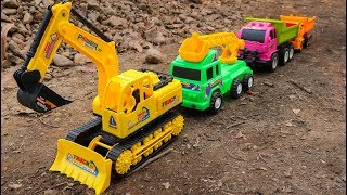 Learn Color With Cars Toys l Dump Truck ,Excavator , Road Roller, Construction Toys For Kids