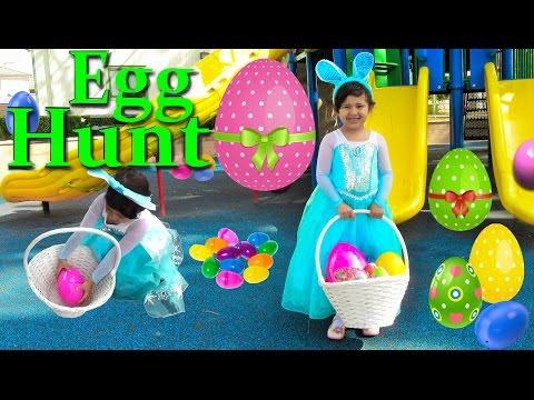 Frozen Queen Elsa IRL Easter Egg Hunt Surprise Eggs Opening Shopkins Peppa Pig Disney Princess