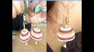 How to make party wear jhumka earrings at home in hindi  (2018)