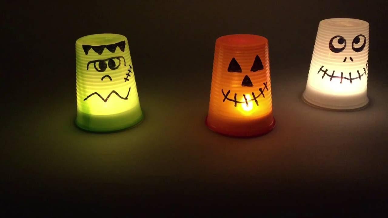 Halloween lanterne fai da te con bicchieri di plastica for Sfere con bicchieri di plastica