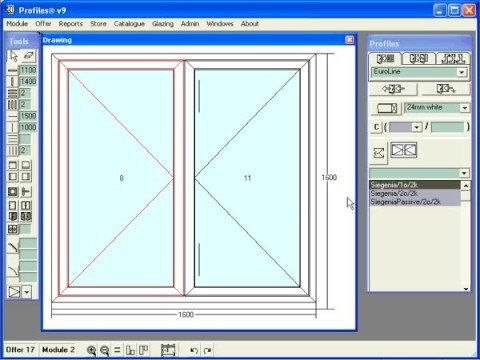 Profiles software for windows and doors design and Sketch software for windows