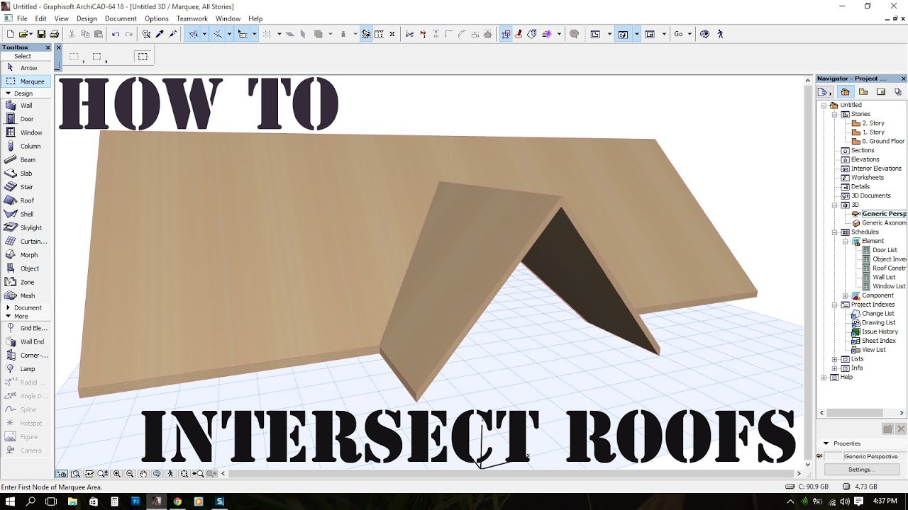Intersect Roofs In Archicad Cross Gable Roof Youtube