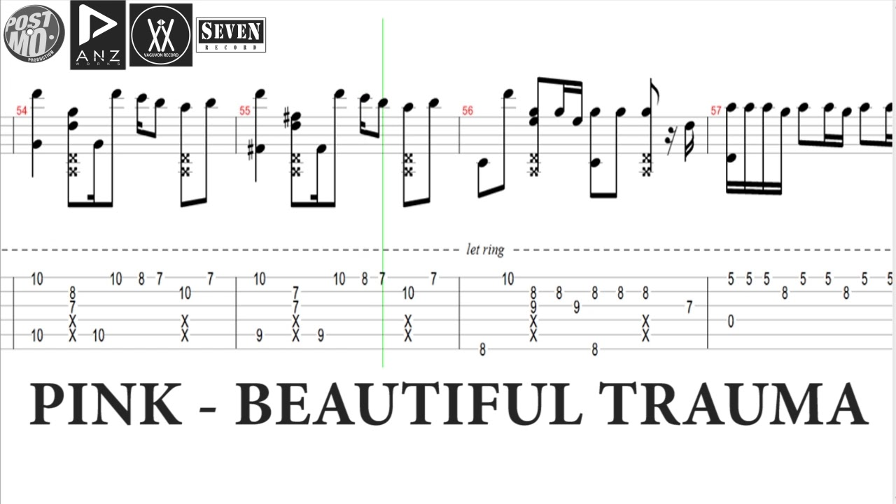 Pink Beautiful Trauma Tab Notation Lesson Tutorial