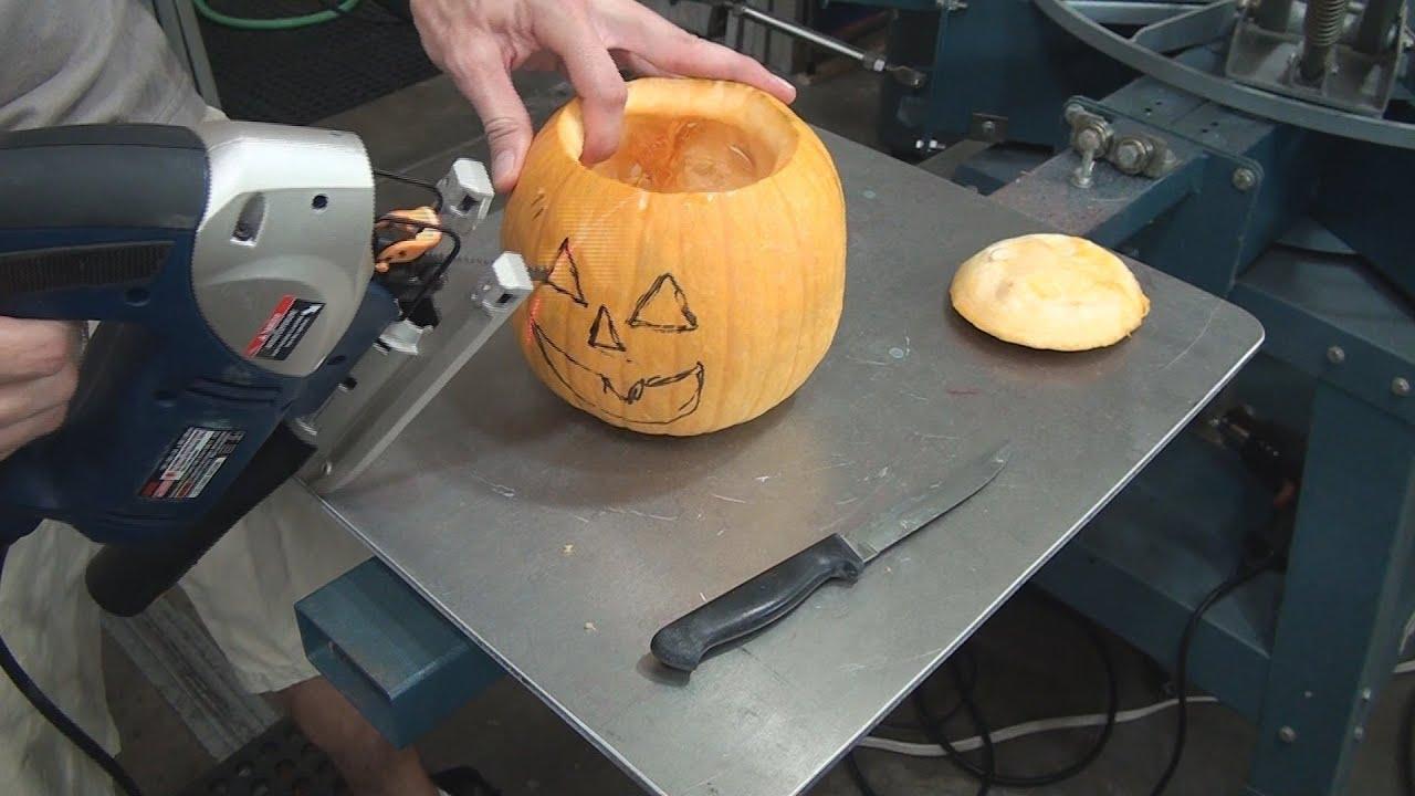 How To Carve Halloween Jack-O-Lantern Pumpkins With A Jigsaw - YouTube