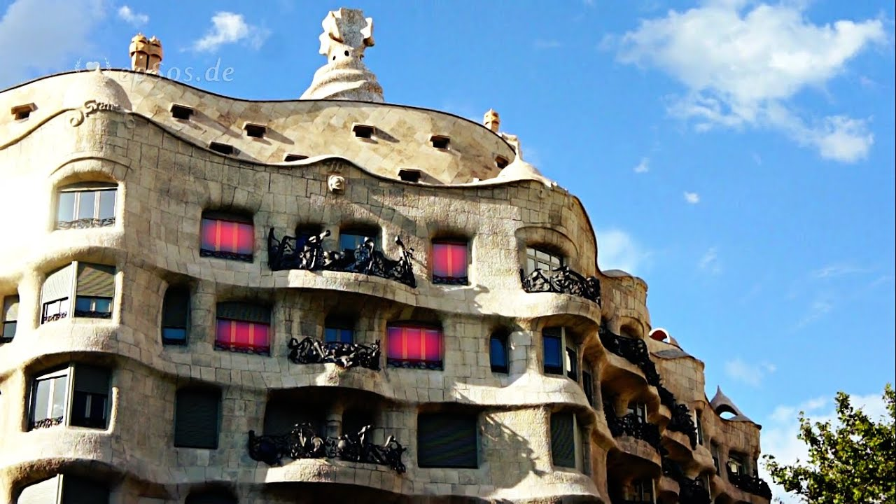 casa mila is la pedrera in barcelona youtube. Black Bedroom Furniture Sets. Home Design Ideas