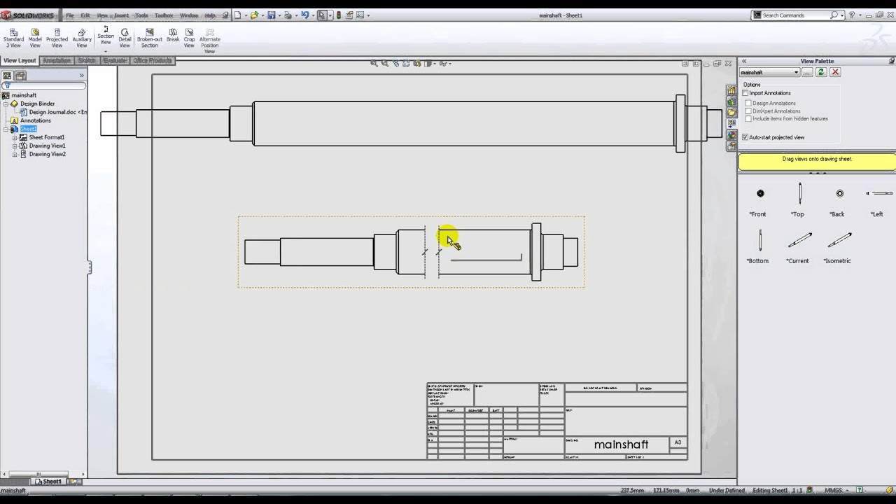 small resolution of broken views in solidworks