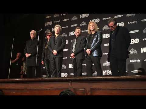 Bon Jovi speaks backstage at Rock Hall inductions