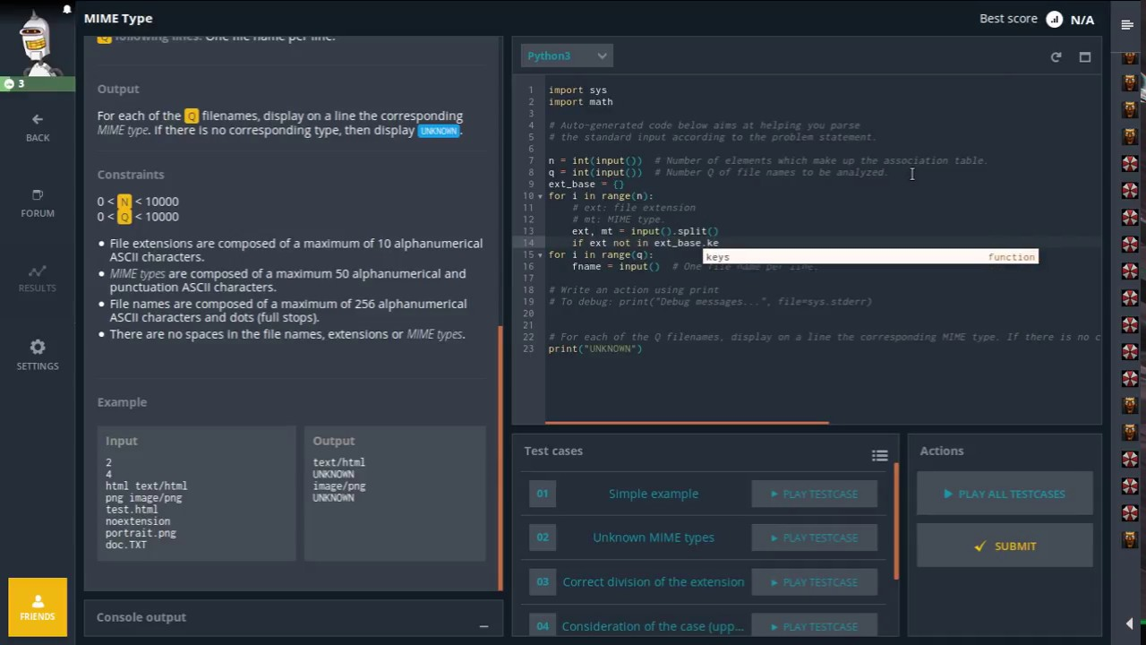 Codingame  MIME Type