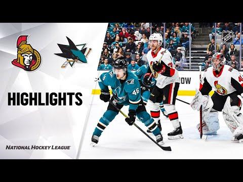 NHL Highlights   Senators @ Sharks 3/7/20
