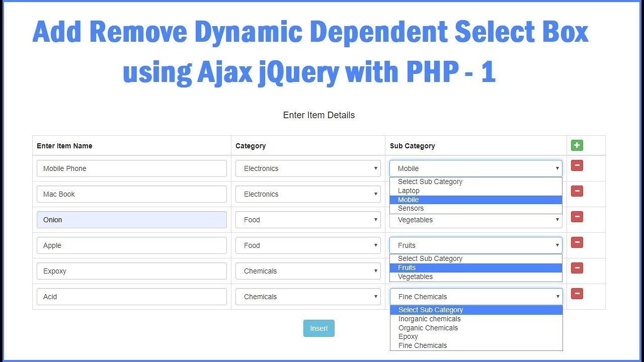 Add or Remove Dynamic Dependent Select Box using jQuery with