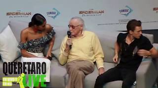 The Legend Stan Lee joins Tom Holland and Laura Harrier at Promo event in Mexico