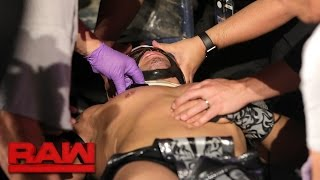 Kalisto is taken out of the arena following his Dumpster Match with Strowman: Raw, April 24, 2017